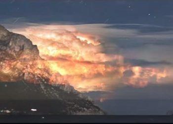 spettacolare-tempesta-di-fulmini-sul-tirreno,-visto-dalla-sardegna