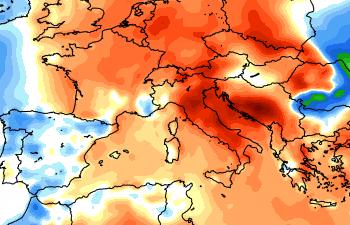 Anomalie termiche dei primi 10 giorni di febbraio. Temperature in media (zone bianche) solo su parte del Nord-Ovest e dalla Sardegna, temperature molto sopra media (colori rosso-marroncini) sul Nord-Est e su tutto il settore peninsulare. Fonte mappa weatherbell.