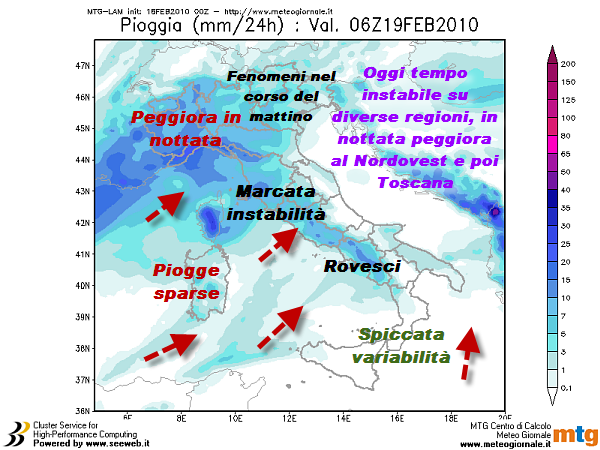 Anche oggi non mancheranno piogge e rovesci, in particolare al Nord e versanti tirrenici del Centro Sud. Nella notte peggiora al Nordovest, poi estensione delle precipitazioni anche sul Triveneto e Toscana.