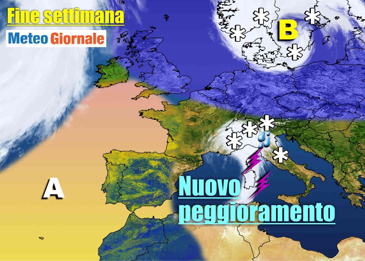 Ecco la nuova perturbazione sopratutto domenica giungerà sull'Italia. Nel Nord Europa si prepara un'ondata di freddo, mentre in Oceano Atlantico avanzerà l'Alta Pressione delle Azzorre.