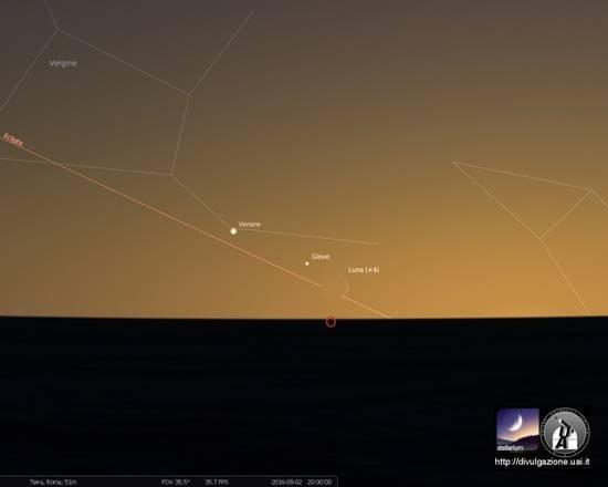 Congiunzione Luna Giove e Venere, 02 settembre ore 20:00 (Mappa del cielo realizzata dalla Uai con i programmi Skymap Pro e Stellarium)