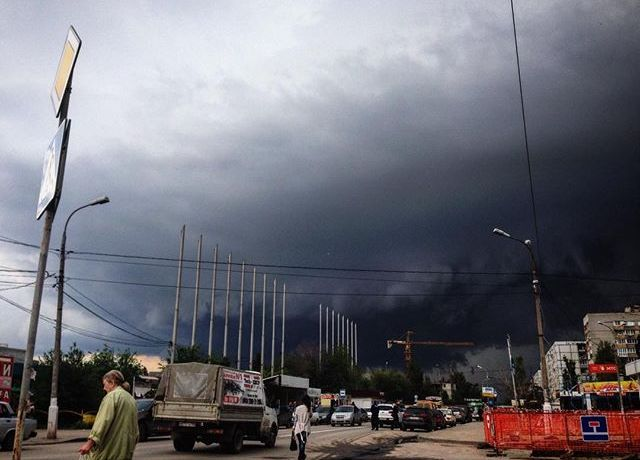 Cielo spettrale a Volgograd